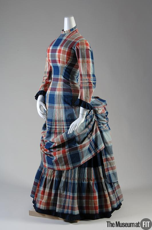 1880 Plaid Cotton Madras Dress.( Museum at FIT)