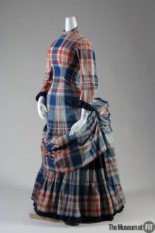 1880 Plaid Cotton Madras Dress.( Museum at FIT)