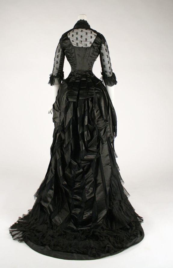 1881-1884 Black Silk Evening Dress.(Met Museum)