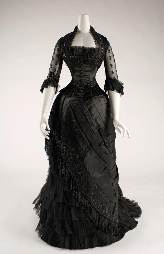 1881-1884 Black Silk Evening Eress.(Met Museum)