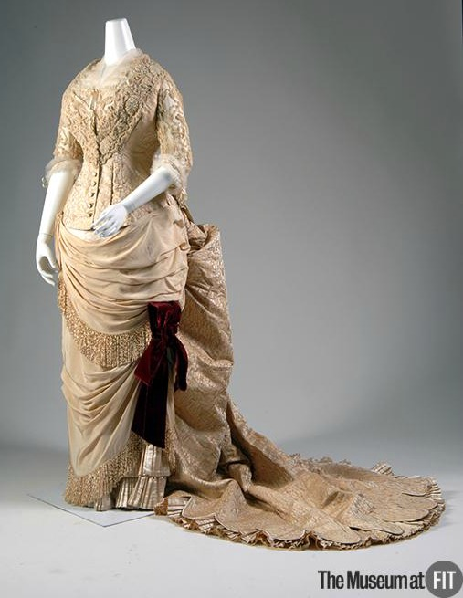 1883 Silk Brocade House of Worth Evening Dress.(Museum at FIT)
