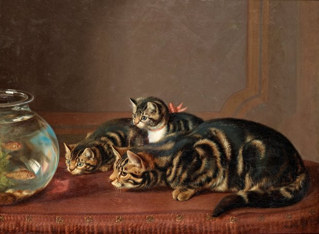 Cats by a fishbowl by Horatio Henry Couldery, (1832–1918).