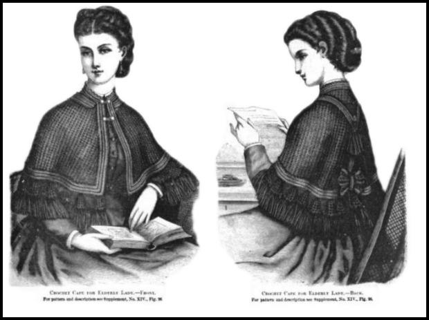 Crochet Cape for Elderly Lady, Harper's Bazaar, 1871.