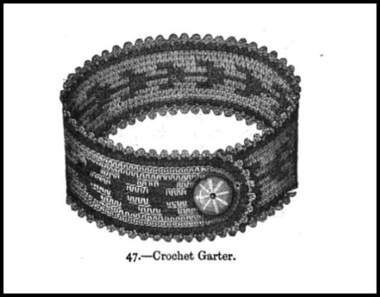 Crochet Garter, Madame Gouband's Crochet Book, 1871.
