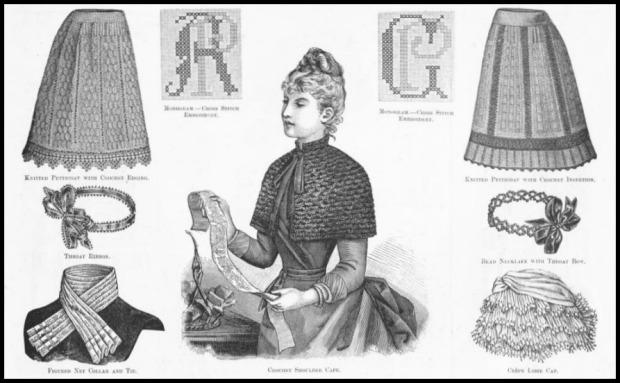 Knitted Petticoat and Crochet Shoulder Cape, Harper's Bazaar, 1897.