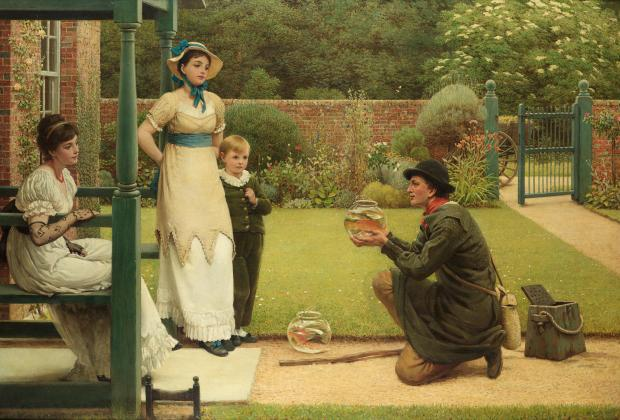 The Goldfish Seller by Leslie George Dunlop, (1835–1921).