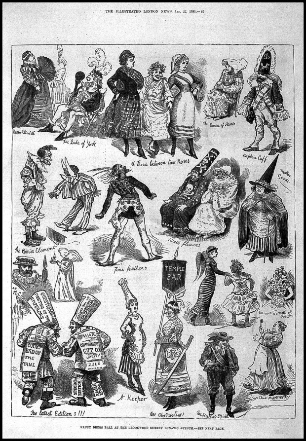Brookwood Lunatic Asylum Fancy Dress Ball, Illustrated London News, 1842.(Wellcome Images)