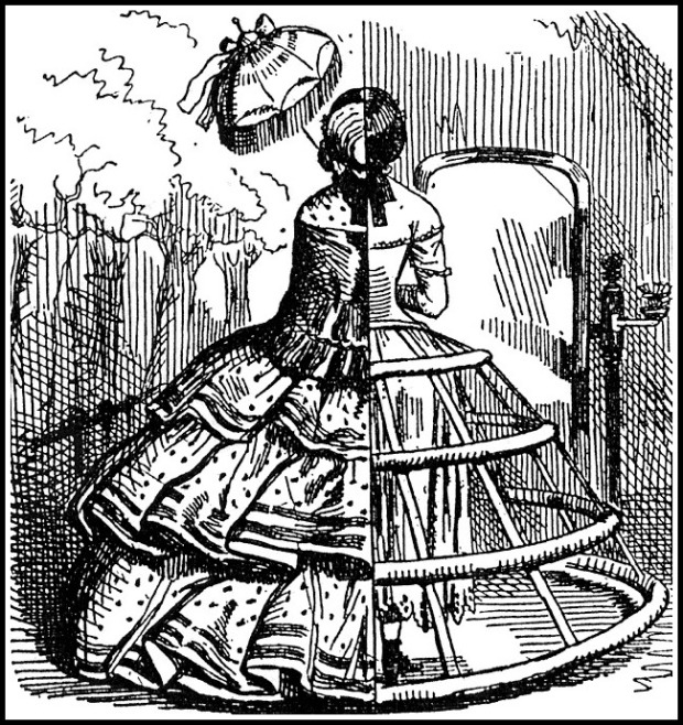 Cutaway View of A Crinoline, Punch, 1856.