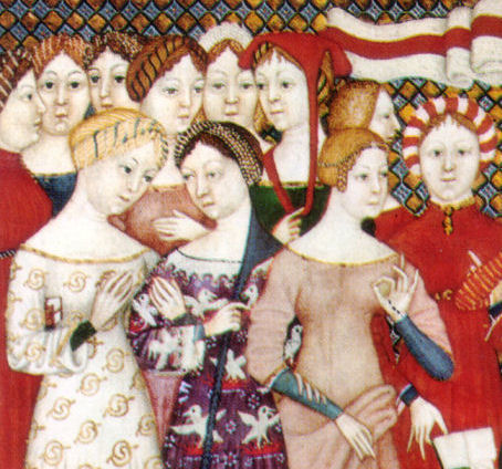 Detail of Illustration form an Italian breviary showing women's figured silk gowns and a saint. Bilbliothèque Nationale, Paris, 1380.
