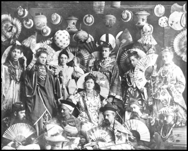 photo of a fancy dress party in cobourg ontario has a theme of 19th century japanese and chinese wear 18861