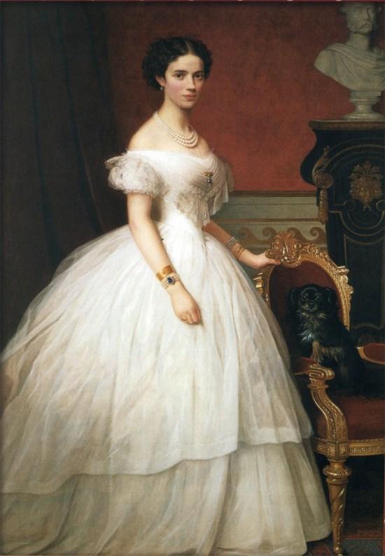 Portrait of Princess Dagmar of Denmark with her Dog, 1860s.