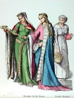 Three Medieval Women with Head Coverings.