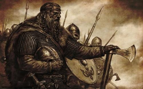 Viking man with plaited hair.