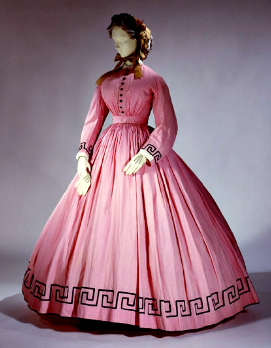 1862 Pink Cotton and Wool Dress.(Met Museum)