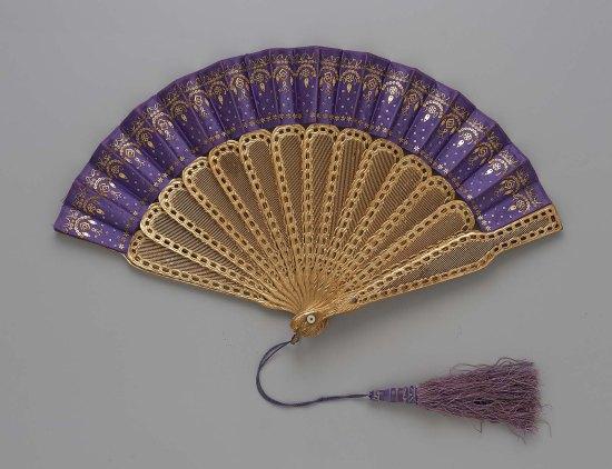 1867-1876 Silk Satin Fan.(MFA Boston)