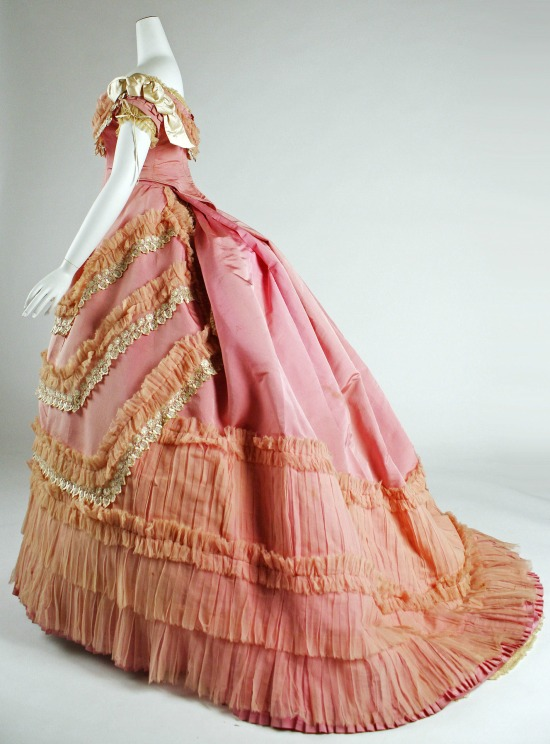 1868 Pink Silk Ball Gown.(Met Museum)
