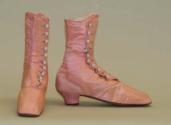1870 Pink Evening Boots.(Met Museum)