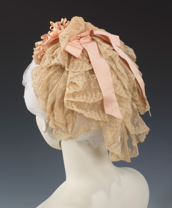 1880 Lace Cap with Pink Ribbons.(Met Museum)
