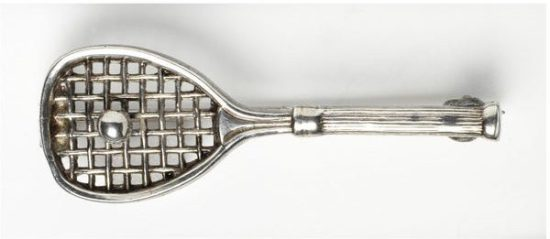 1880 Electroplated Nickel Silver Tennis Brooch.(Victoria and Albert Museum)