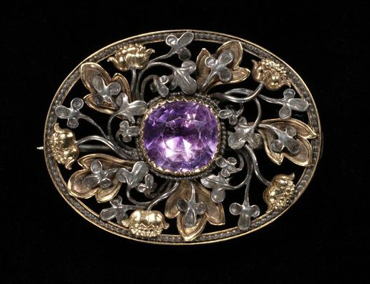 1890 Gold, Silver, and Amethyst Brooch.(Victoria and Albert Museum)