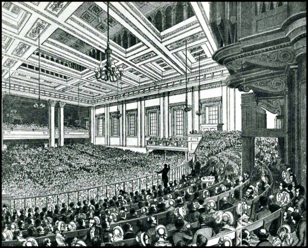 A meeting of the Anti-Corn Law League in Exeter Hall in 1846..