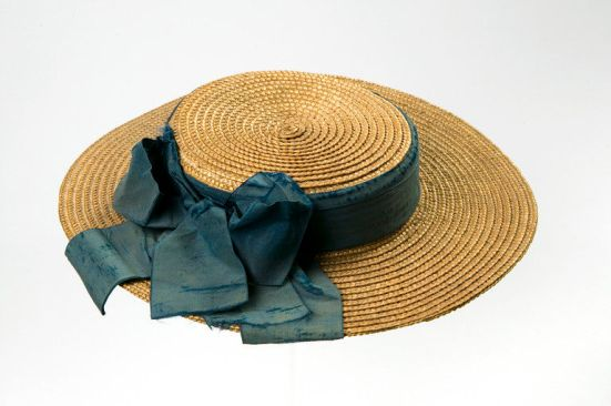 1870-1875 Straw Boater with a Blue Silk Ribbon. (Victoria and Albert Museum)
