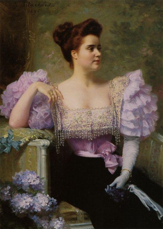 Portrait of Lady by Jules Louis Machard, (1839-1900).