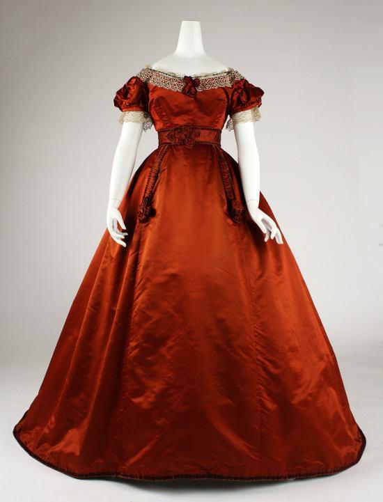 1865-1868 Red Silk Visiting Dress.(Met Museum)