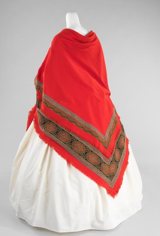 1866 Red Wool Wedding Shaw;.(Met Museum)