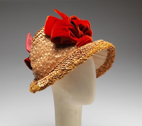 1879-1884 Poke Bonnet with Red Velvet Ribbon.(Met Museum)
