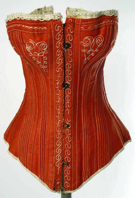 1880s Red Cotton Corset.(Met Museum)