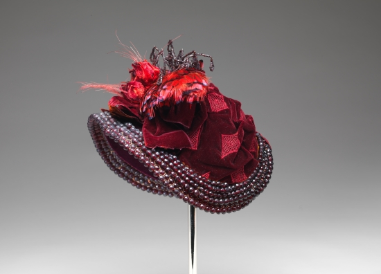 1883 French Bonnet with Red Beads, Feathers, and Ribbon.(Met Museum)