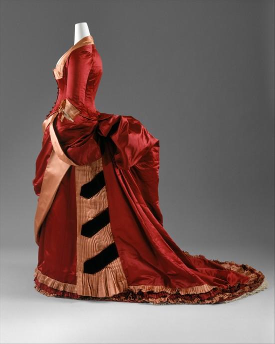 1884-1886 Red Silk Evening Dress.(Met Museum)