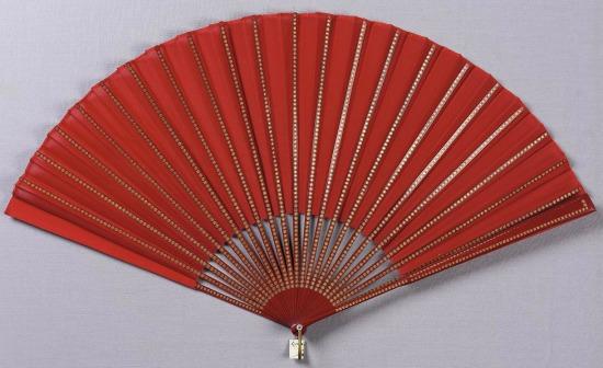 Mid-19th Century Red Crepe Fan.(MFA Boston)