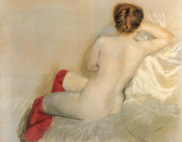 Nude with Red Stockings by Guiseppe De Nittis, 1879.