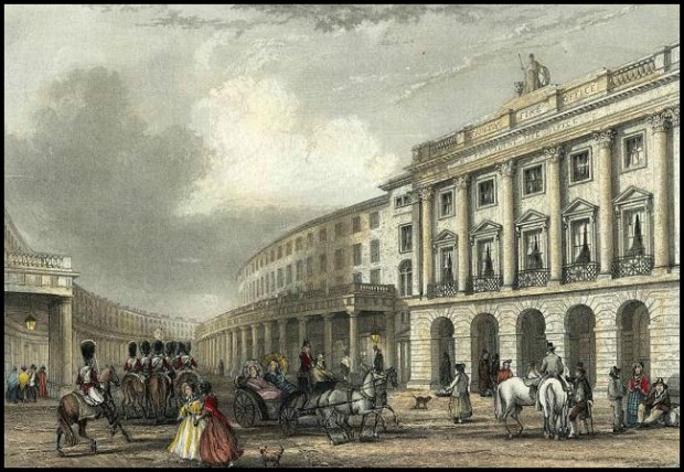 Quadrant, Regent Street engraved by J.Woods after J.Salmon, 1837.
