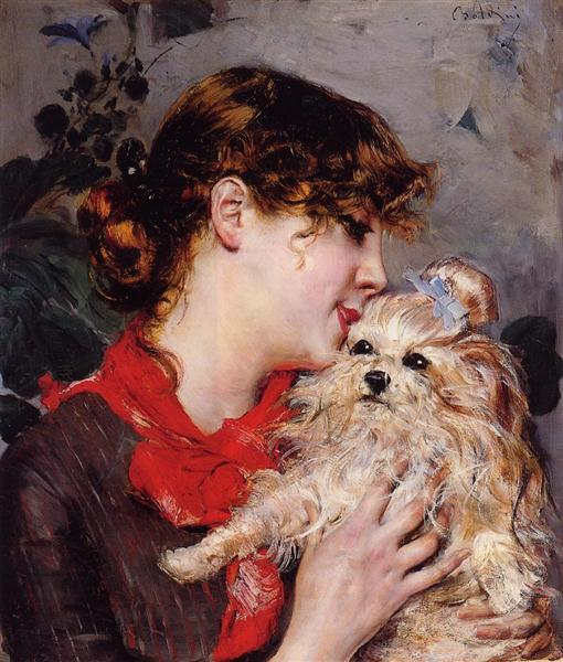 The Actress Rejane And Her Dog by Giovanni Boldini, 1885.