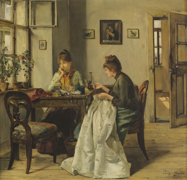 The Seamstress by Josef Gisela, 1897.
