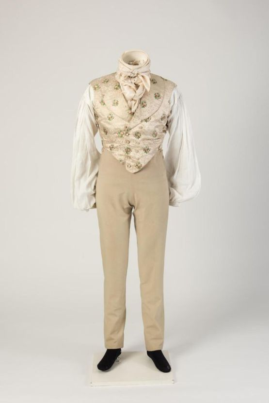 1820s Woollen Trousers with Figured Silk Waistcoat.(Fashion Museum Bath)