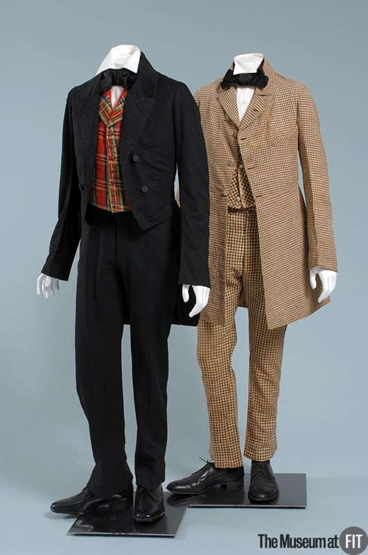1850 Black Wool Suit with Checkered Vest.(Museum at FIT)