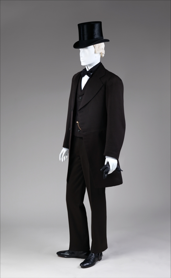 1867-1868 Black Wool Three-Piece Suit.(Met Museum)