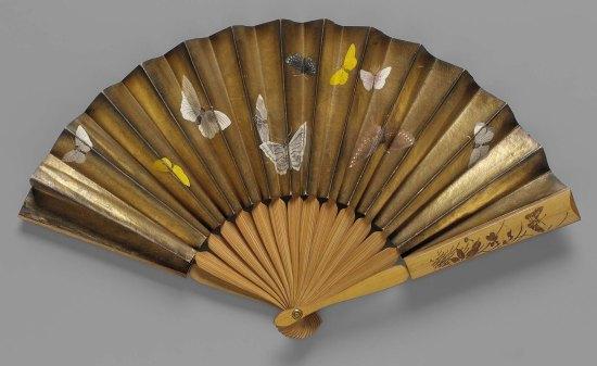 1875 Paper Leaf Folding Fan with Butterfly Design.(MFA Boston)