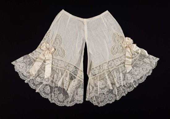 1900 Pair of French Cotton Drawers with Butterfly Insets.(MFA Boston)