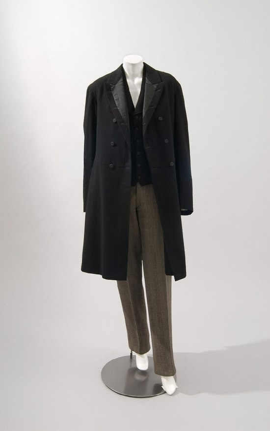 1897 Fock Coat, Vest, and Striped Wool Trousers.(Philadelphia Museum of Art)