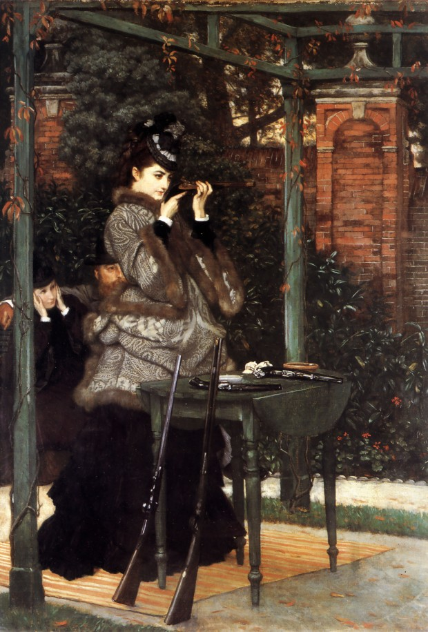 Caption:  At the Rifle Range (The Crack Shot, 1869), by James Tissot.  Oil on canvas, 26 ½ by 18 ¾ in. (67.3 by 47.6 cm).  Wimpole Hall, Cambridgeshire, UK.  (Photo: Wikipaintings.org)