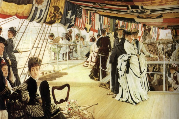 The Ball on Shipboard (c. 1874), by James Tissot. Oil on canvas, 33 1/8 by 51 in. (84 by 130 cm). Tate, London. (Photo: Wikimedia.org)