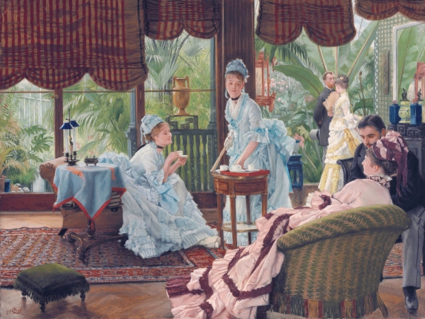 In the Conservatory (Rivals), c. 1875, by James Tissot. Oil on canvas, 15 1/8 by 20 1/8 in. (38.4 by 51.1 cm). Private Collection. (Photo: Wikiart.org)