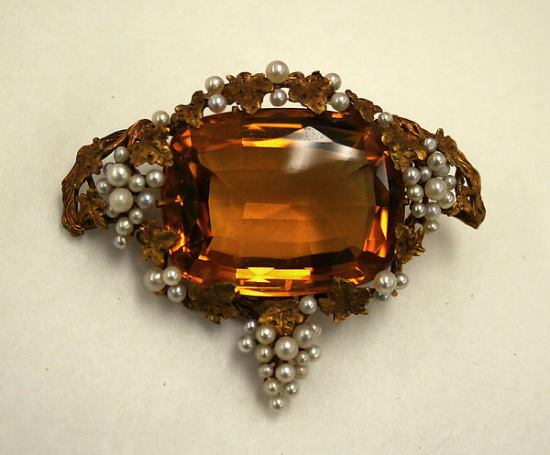 Late 19th Century Topaz, Pearl, and Gold Brooch.(Met Museum)