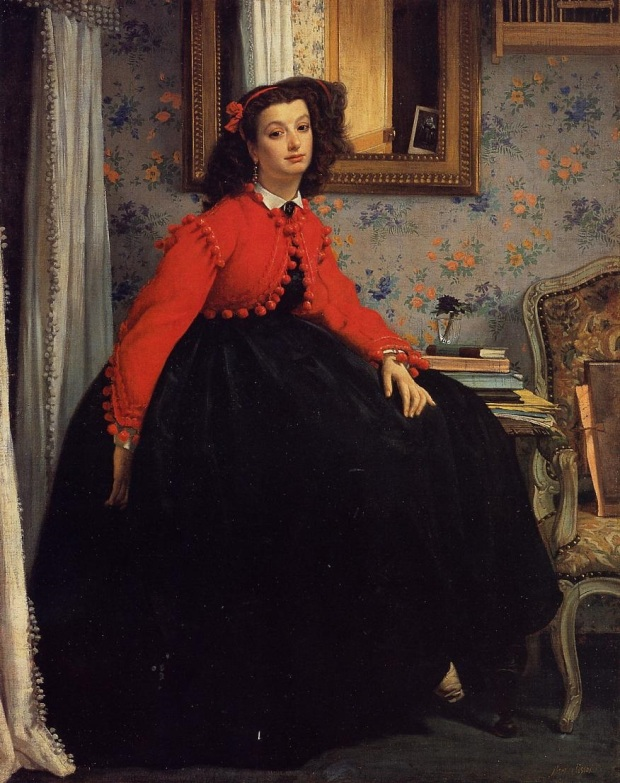 Portrait of Mlle. L.L. (Young Lady in a Red Jacket. February 1864), by James Tissot. Oil on canvas, 48 13/16 by 39 3/8 in. (124 by 99.5 cm). Museé d'Orsay, Paris. (Photo: Wikimedia.org)