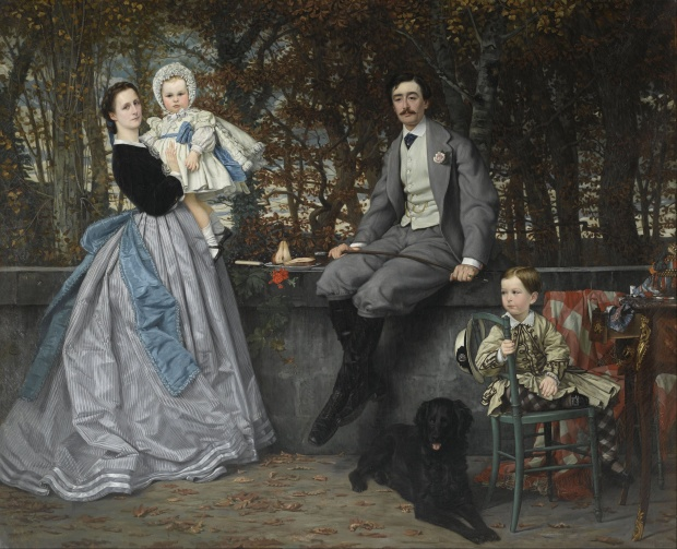The Marquis and the Marquise de Miramon and their Children (1865), by James Tissot. Oil on canvas, 69 11/16 by 85 7/16 in. (177 by 217 cm).  Musée d'Orsay, Paris.  (Photo: Wikimedia.org)